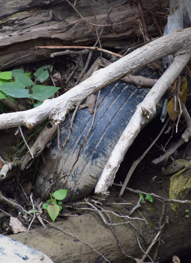 Photo by Scott McCloskey The West Virginia Department of Environmental Protection REAP program is sponsoring a tire collection Saturday for West Virginia residents to avoid unlawful disposal of old tires like this one pictured in Big Wheeling Creek.