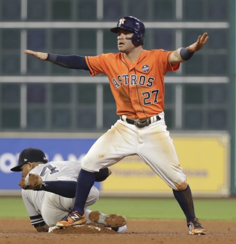 Houston Astros' Jose Altuve reacts after stealing second with New York Yankees' Starlin Castro covering during the fourth inning of Game 1 of baseball's American League Championship Series Friday, Oct. 13, 2017, in Houston. (AP Photo/David J. Phillip)