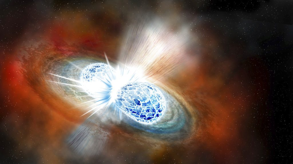 This illustration provided by the Carnegie Institution for Science depicts the collision of two neutron stars detected on Aug. 17, 2017. The explosion threw matter, light, radiation and gravitational waves into space. The discovery was reported on Monday, Oct. 16, 2017. (Robin Dienel/Carnegie Institution for Science via AP)