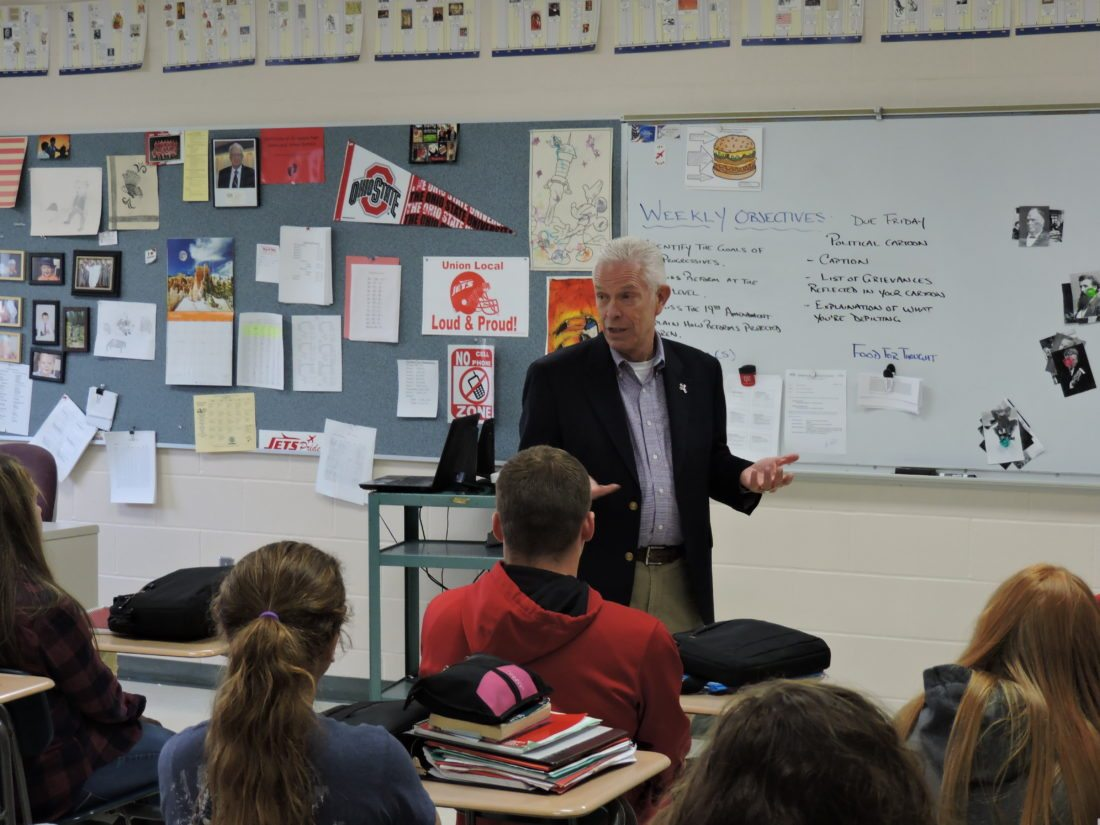 Photo by Dylan McKenzie U.S. Rep. Bill Johnson, R-Ohio, speaks to a group of students at Union Local High School on Monday.