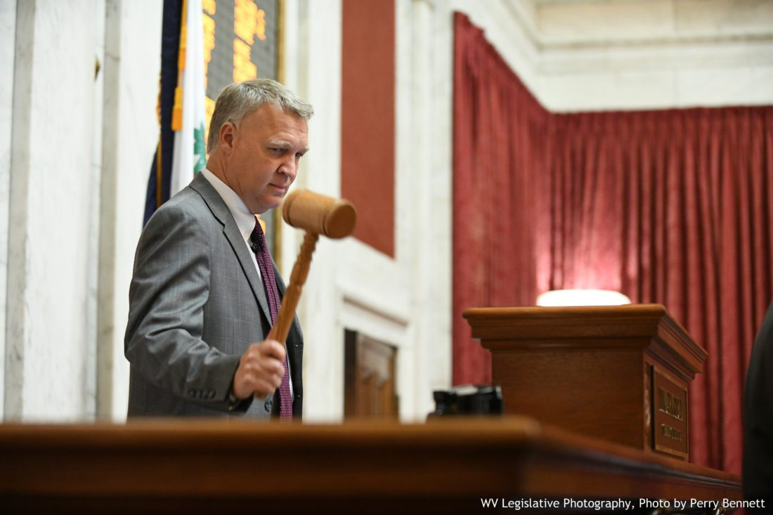 Photo by Perry Bennett, W.Va. Legislature West Virginia House of Delegates Speaker Tim Armstead, R-Kanawha, gavels in a special session of the Legislature on Monday in Charleston.
