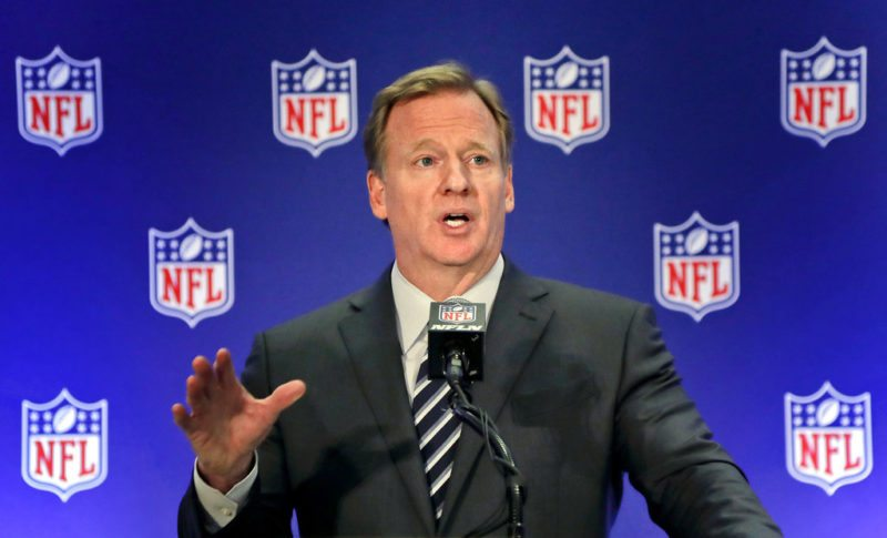 NFL commissioner Roger Goodell speaks during a news conference, Wednesday, Oct. 18, 2017, in New York. (AP Photo/Julie Jacobson)
