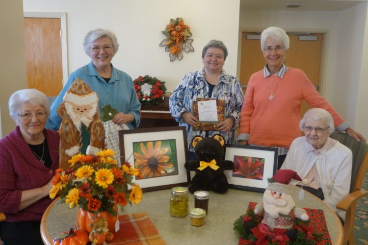Photo Provided Showing a sampling of crafts to be sold at the 29th annual spaghetti dinner and craft sale to benefit the sisters of the Congregation of St. Joseph are crafters, from left, Sisters Mary Alice Girrens, Marguerite O'Brien, Mary Ann Rosenbaum, Kathleen Durkin and Gabriella Wagner.