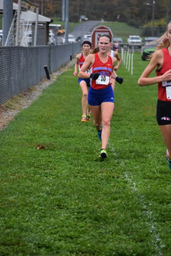 Photo Provided Wheeling Park's BeighleyAyers runs to a ninth place finish at the West Virginia state cross country meet.