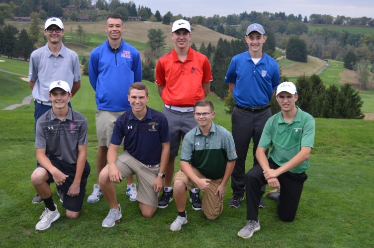 Photo by Cody Tomer Eight local players represent the first The Intelligencer/Wheeling News-Register All-Valley Golf Team. Shown, front row, from left, is Wheeling Central's J.C. Maxwell, Magnolia's Trey Blain, Brooke's Ryan Bilby and Barnesville's Davey Wells. Back row is Madonna's Howie Peterson, Wheeling Park's Jacob Nickell, St. Clairsville's Brendan Vucelich and Harrison Central's Clint Heavilin.