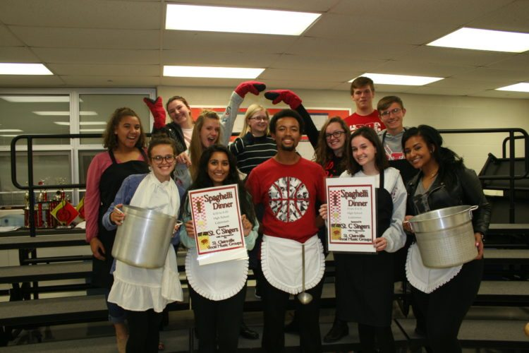 Student vocal music groups will perform during the annual fall spaghetti dinner presented by the St. C. Singers on Thursday, Nov. 9, at St. Clairsville Middle School/High School. The dinner will take place from 4-8 p.m. and includes spaghetti, salad, bread, drinks and desserts. Dine-in or carry-out meals will be available. There will be a 50/50 drawing and entertainment throughout the evening. Tickets will be available at the door or in advance from any member of St. C. Singers, who will debut songs from this year's show. Among the senior members of St. C. Singers preparing for the big event are, from left, Shaqaille McCamick, Shaina Thornton, Kaily Drake, Rhyanna Wiethe, Maya Tadipatri, Lauren Vike, Tyler Powell, Madison Gillotte, Lexi Toothman, Brandan Coleman, Jacob Hendershot and Aziah Robinson.