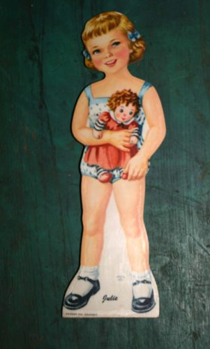 hard board dolls like this cute little Julie began to be used for paper doll bodies in the mid-20th century