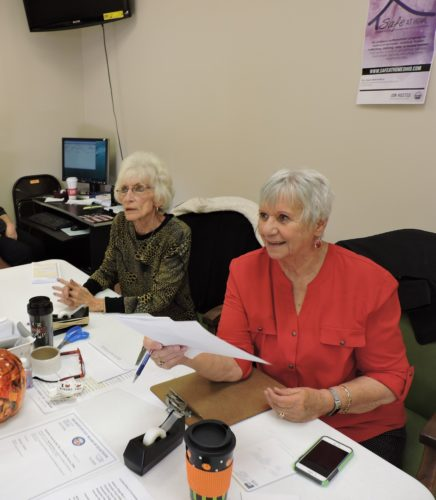 Photo by Janell Hunter Sandy Diosi, left. of Flushing and Laurel Nagle of Barnesville serve as poll workers for early voting at the Belmont County Board of Elections office in St. Clairsville.