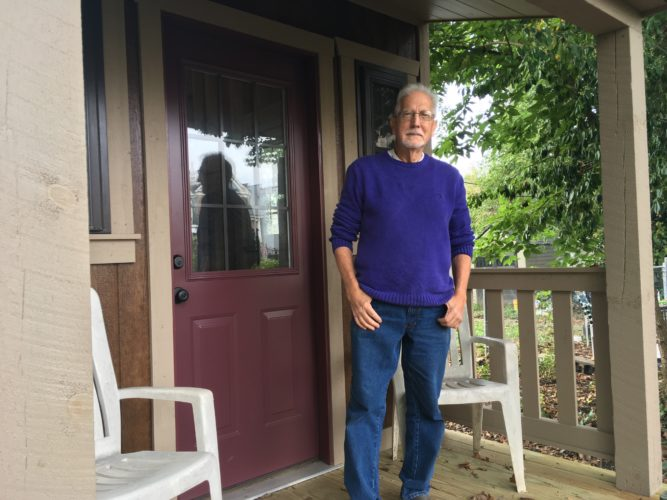 """Photo by Jessica Broverman  Martin Wach, owner of a """"tiny home"""" on Wheeling Island, aspires to utilize empty lots in the area to create urban gardens and affordable homes."""