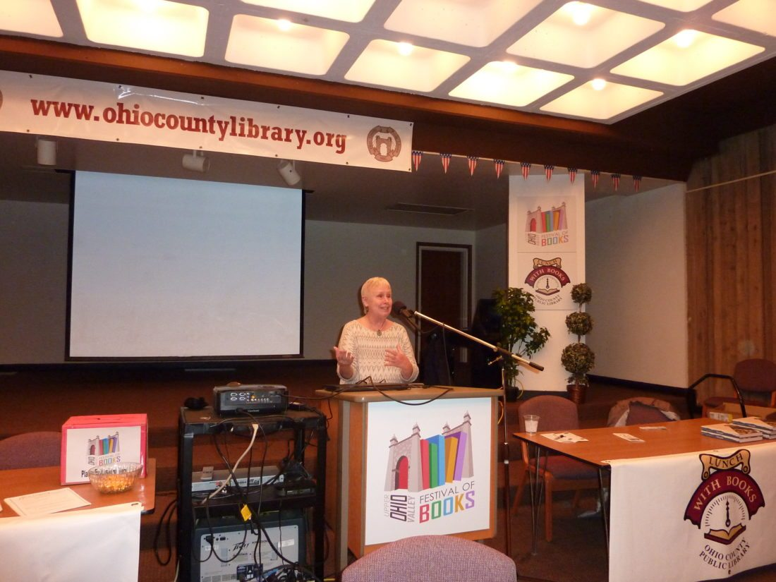 "Photo by Linda Comins Ronni Lundy,  author of an award-winning new cookbook, ""Victuals,"" speaks at the Ohio County Public Library Tuesday. Her presentation was part of the Upper Ohio Valley Festival of Books."