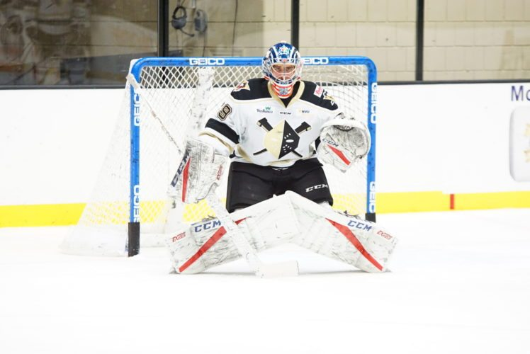 Nailers goalie Will King stands in net during Sunday's game at WesBanco Arena.       Photo by  Zack Rawson