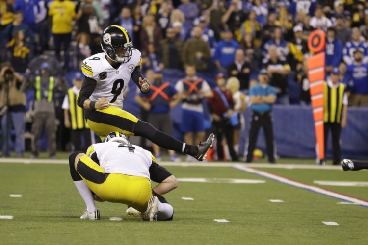 Pittsburgh Steelers kicker Chris Boswell (9) kicks a game-wining field goal from the hold of Jordan Berry after a game-winning field goal against the Indianapolis Colts during the second half of an NFL football game in Indianapolis, Sunday, Nov. 12, 2017. The Steelers defeated the Colts 20-17. (AP Photo/Michael Conroy)