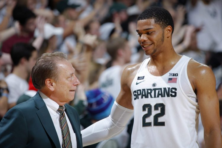 Michigan State coach Tom Izzo, left, and Miles Bridges talk during the second half of an NCAA college basketball game against North Florida, Friday, Nov. 10, 2017, in East Lansing, Mich. (AP Photo/Al Goldis)