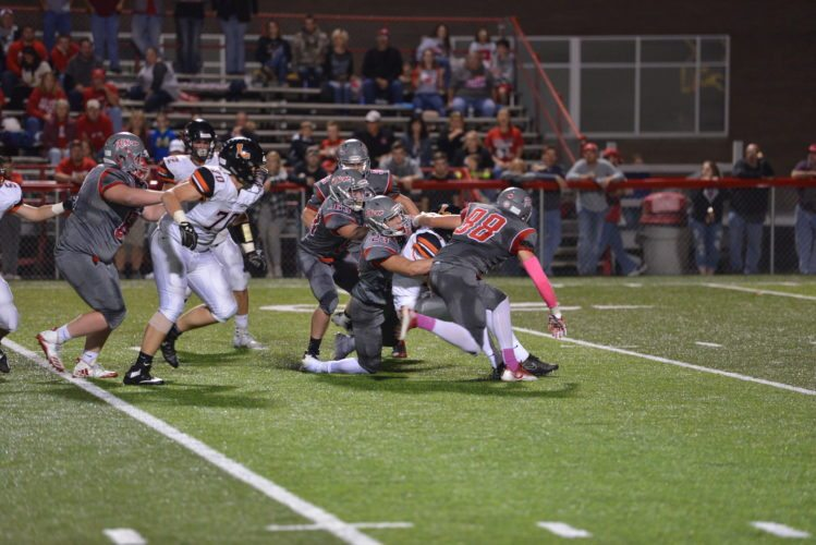 Photo by Scott McCloskey Drew Wagnild (23), Zac Talbot (63), Drew Dietz (88) and the rest of the River defense will look to slow down 11-1 Danville on Friday in Zanesville.