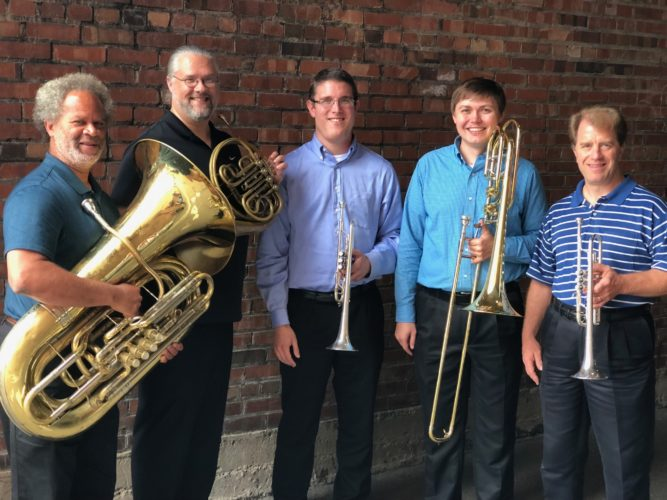 Members of the brass quintet are, from left: Gary Adams on tuba; Jason Allison on French horn; Matt Diehl on trumpet; Lucas Kaspar on trombone; and Don Duncan on trumpet. The group will headline St. Clairsville's Light Up Night at 6 p.m. Saturday, Nov. 18, outside of the Belmont County Sheriff's Museum.