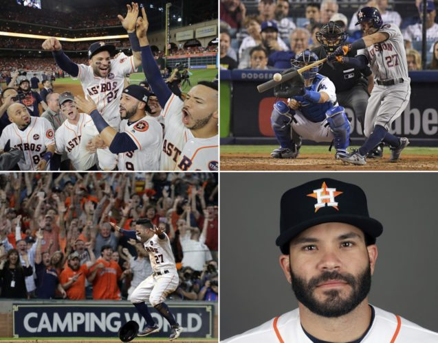FILE - Clockwise from top left are 2017 file photos showing: Houston Astros' Jose Altuve lifted by teammates after Game 7 of baseball's American League Championship Series against the New York Yankees in Houston;  Astros' Jose Altuve hitting a home run against the Los Angeles Dodgers during the 10th inning of Game 2 of baseball's World Series in Los Angeles; Jose Altuve in 2017; and Astros' Jose Altuve reacting after scoring the game-winning run during the ninth inning of Game 2 of baseball's ALCS against the New York Yankees, in Houston. Houston dynamo Jose Altuve and Yankees slugger Aaron Judge are the favorites for the AL MVP award while Miami Marlins Giancarlo Stanton is the top candidate for the NL prize, to be announced Thursday, Nov. 16, 2017.  (AP Photo/File)