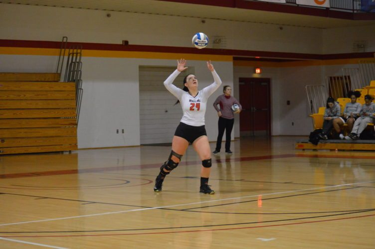 Photo by Kyle Lutz Wheeling Jesuit's Audrey Francis serves during the Mountain East Conference Tournament against West Virginia Wesleyan on Thursday.