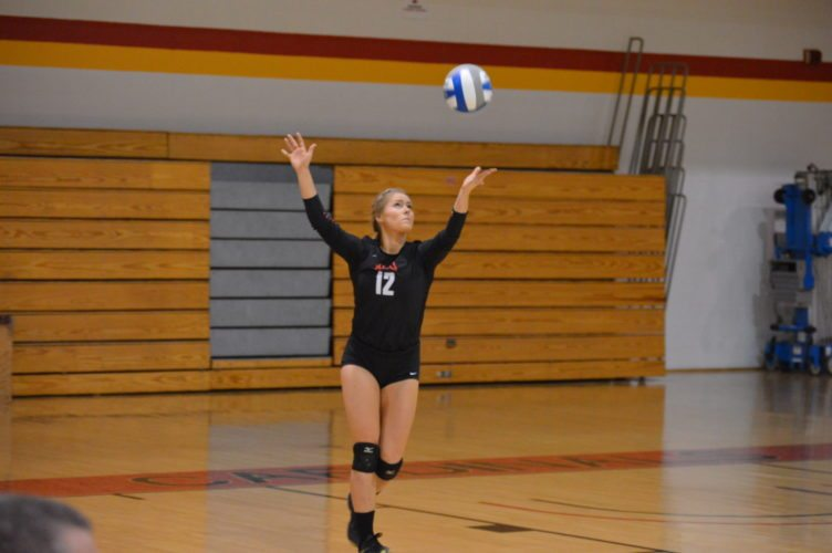 Photo by Cody Tomer Wheeling Jesuit's Emily Reedy makes a play during the MEC Semifinal match at the McDonough Center on Friday.