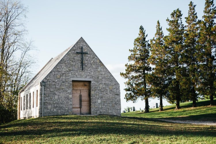 The sun shines down on the St. Mary's Chapel in Lafferty. The chapel was built by Greg Dutton and his company, Midland Architecture, after fire claimed the previous building in 2012.