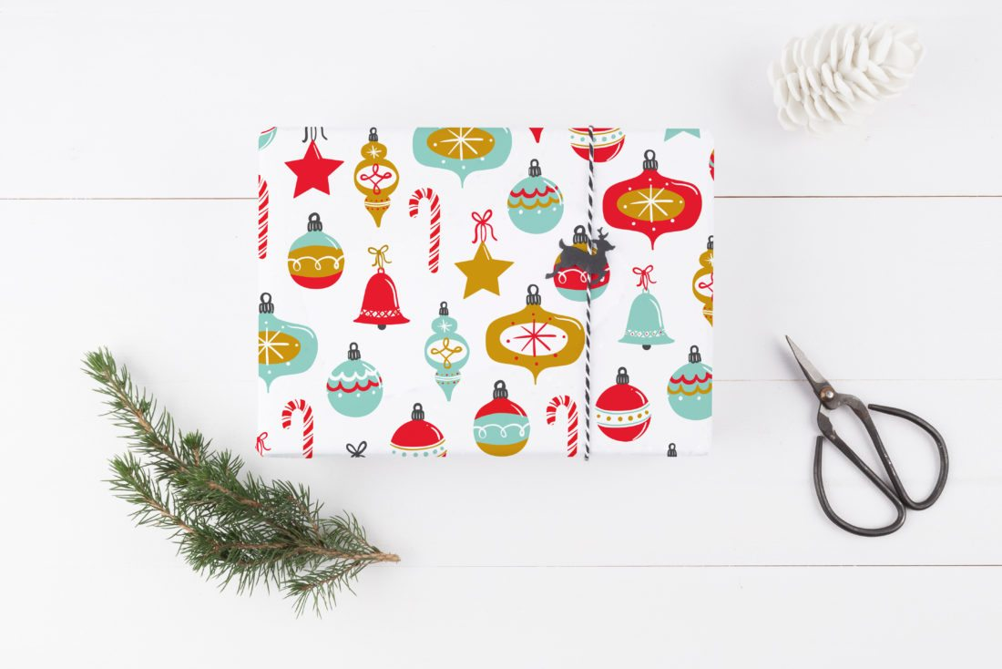 this undated photo provided by the lil umbrellas etsy shop shows a fun vintage style wrapping paper printed with retro style ornaments in a midcentury - Mid Century Modern Christmas Tree Decorations