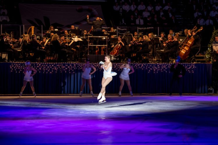 Local skaters and professional figure skaters will take to the ice while the Wheeling Symphony Orchestra and hundreds of students from local school choirs perform holiday numbers Tuesday during the annual Symphony on Ice at WesBanco Arena.