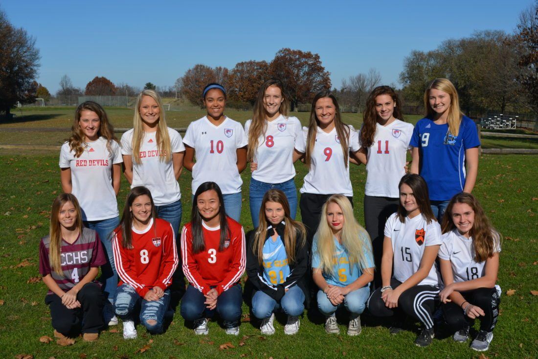 Photo by Josh Strope Shown is The Intelligencer and Wheeling News-Register's 22nd All-Valley Girls Soccer Team. Front row, from left, are Kenadee Wayt (Wheeling Central), Isabella Aperfine (Weir), Julia Gianni (Weir), Reece Enochs (Oak Glen), Maggie Kovalcik (Oak Glen), Clare Miller (Linsly) and Athena Mariano (Linsly). Back row are Macy Malin (St. Clairsville), Alyssa Otto (St. Clairsville), Jada Taylor (Wheeling Park), Lauren Schultz (Wheeling Park), Allison Julian (Wheeling Park), Morgan Glass (Wheeling Park) and Sydney Star (Harrison Central). Not pictured is Claire Dieffenbaugher (Wheeling Central).