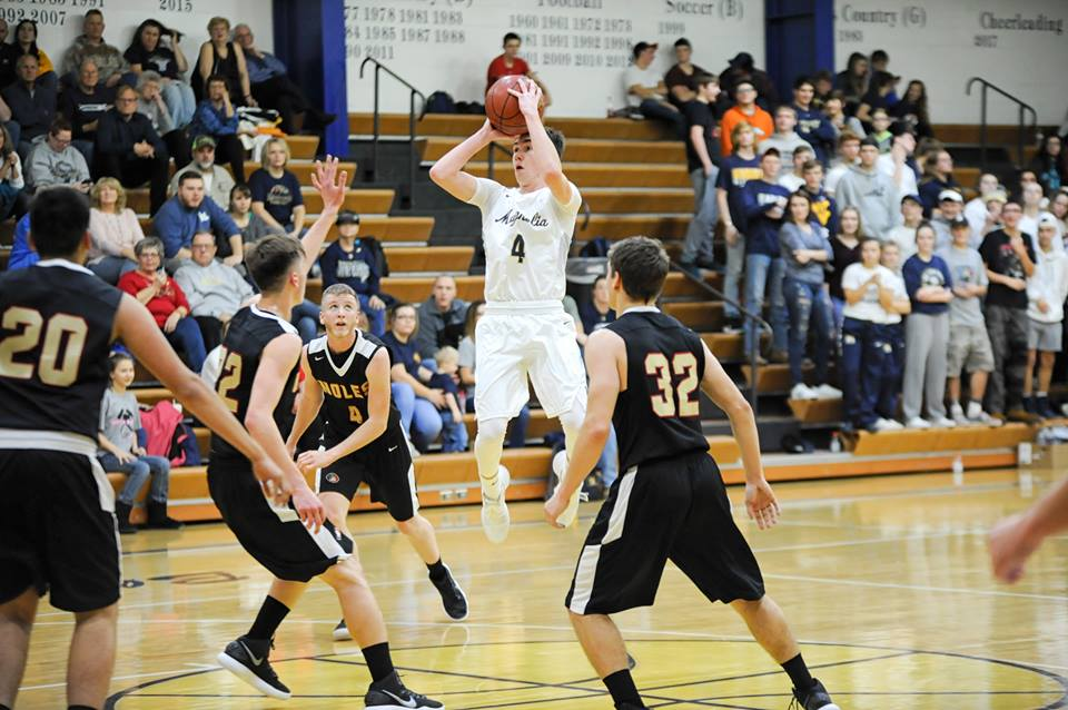 Photo by Robby Parsons Magnolia's Jake Gamble takes a shot during Tuesday's game against Monroe Central.