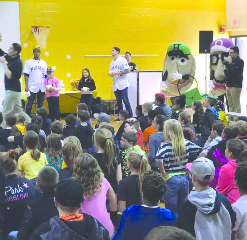 """Photo Provided Students at Ritchie Elementary School in Wheeling enjoy a visit by the Pittsburgh Pirates Charities """"Care-A-Van"""" Wednesday."""