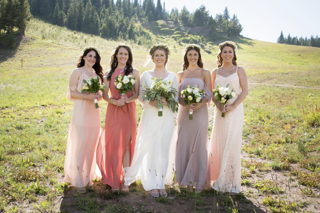 Here come the mismatched bridesmaids news sports jobs the in this sept 2 2017 photo provided by nisha louise alison reed center of colorado springs colo stands with her bridal party in vail colo ombrellifo Gallery