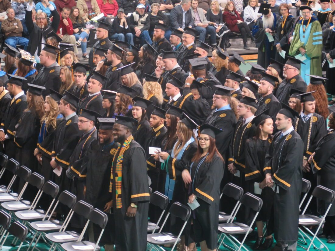 Photo by Alec Berry New graduates of West Liberty University attend Saturday's fall commencement ceremony.