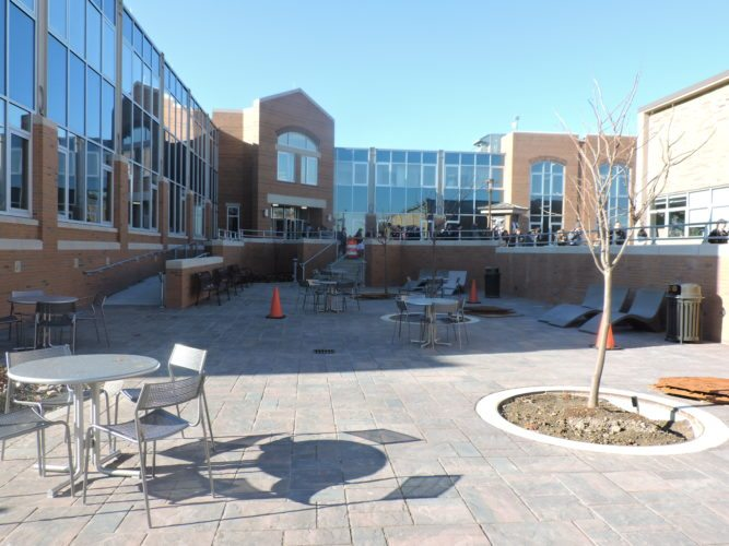 Photo by Dave Gossett Contractors are working to finish the $4 million Egan Plaza project at Franciscan University of Steubenville by Friday.