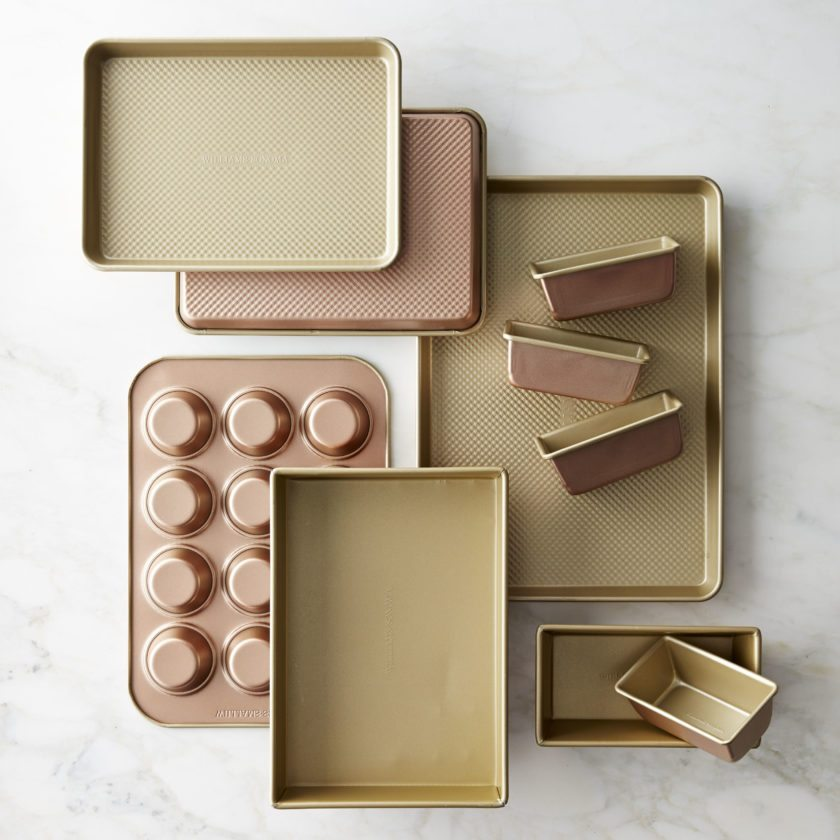 Copper-hued sheet pans from Williams-Sonoma have a commercial-grade aluminized steel finish.