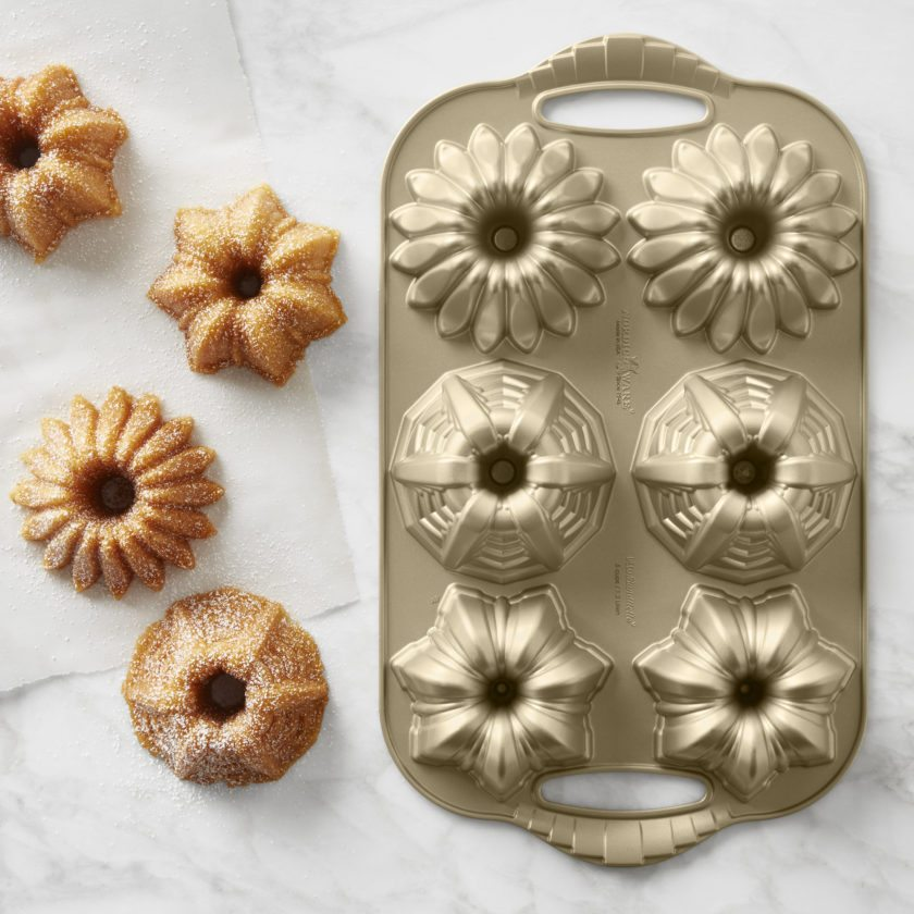 Above, Nordic Ware cakelet pans are inspired by Art Deco patterns. They are fromWilliams-Sonoma.