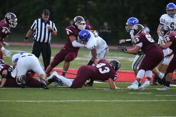 Photo by Alex Kozlowski Wheeling Central's Adam Murray (6) became the first sophomore to be named the winner of the Huff Award, given to the state's top defensive player.