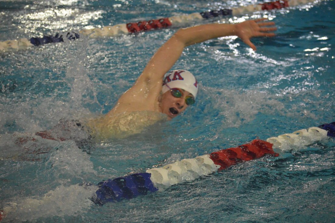 Photo by Cody Tomer Wheeling Park's Max Kellas competes in the 400 relay during Saturday's meet in the Wheeling Park Pool.