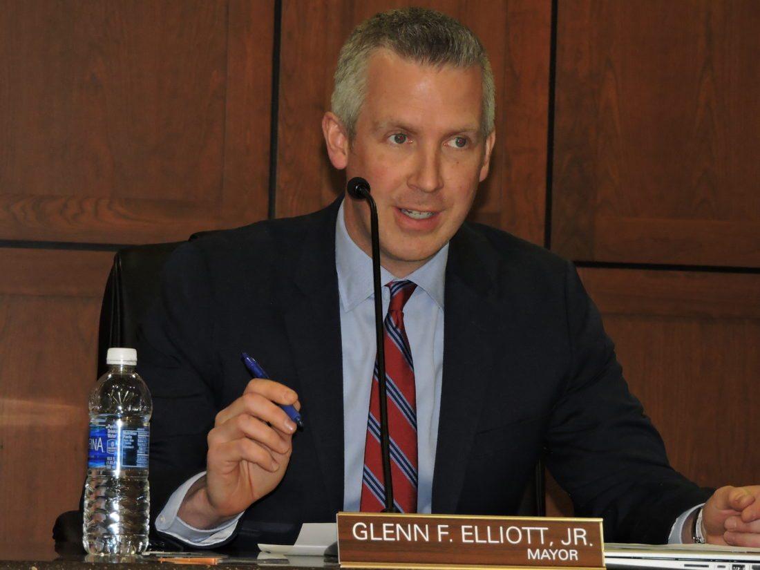 File Photo Wheeling Mayor Glenn Elliott speaks during a recent city council meeting.