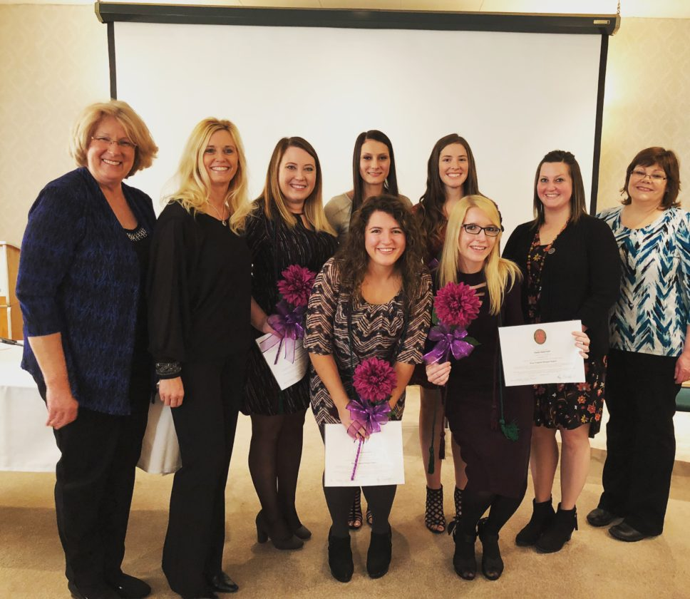 Participating in Ohio Valley Medical  Center's induction for Lambda Nu National Honor Society for Radiologic and  Imaging Sciences are, front row from left, inductees Taylore Barry and Heather Taylor; back row from left, Sherrie Orlofske, chapter  co-director and OVMC clinical instructor; Kerri Tush, East Ohio Regional Hospital clinical instructor; inductees Stephanie Adams, Caitlyn Berardi and Laken Ramsay; program director Stephanie Stauver and Debbie Kaiser, chapter  co-director and OVMC clinical instructor.   Photo Provided
