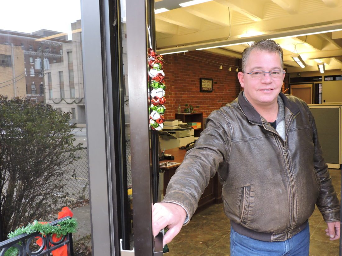 Photos by Casey Junkins Real estate investor Dean Connors said he has spent about $500,000 to purchase and renovate three downtown Wheeling buildings, including the former Stenger Business Systems building at 1035 Chapline St.