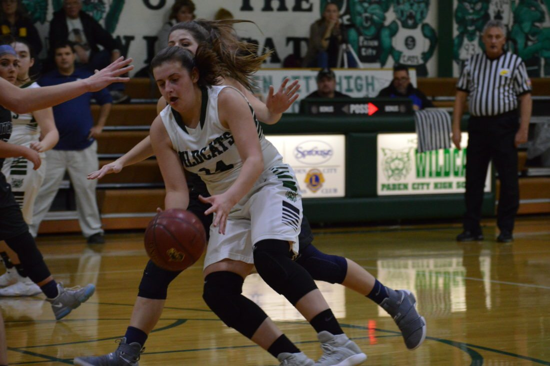 Photo by Kyle Lutz Paden City's Hannah Loy attempts to drive past a Ritchie County defender during Tuesday's game.