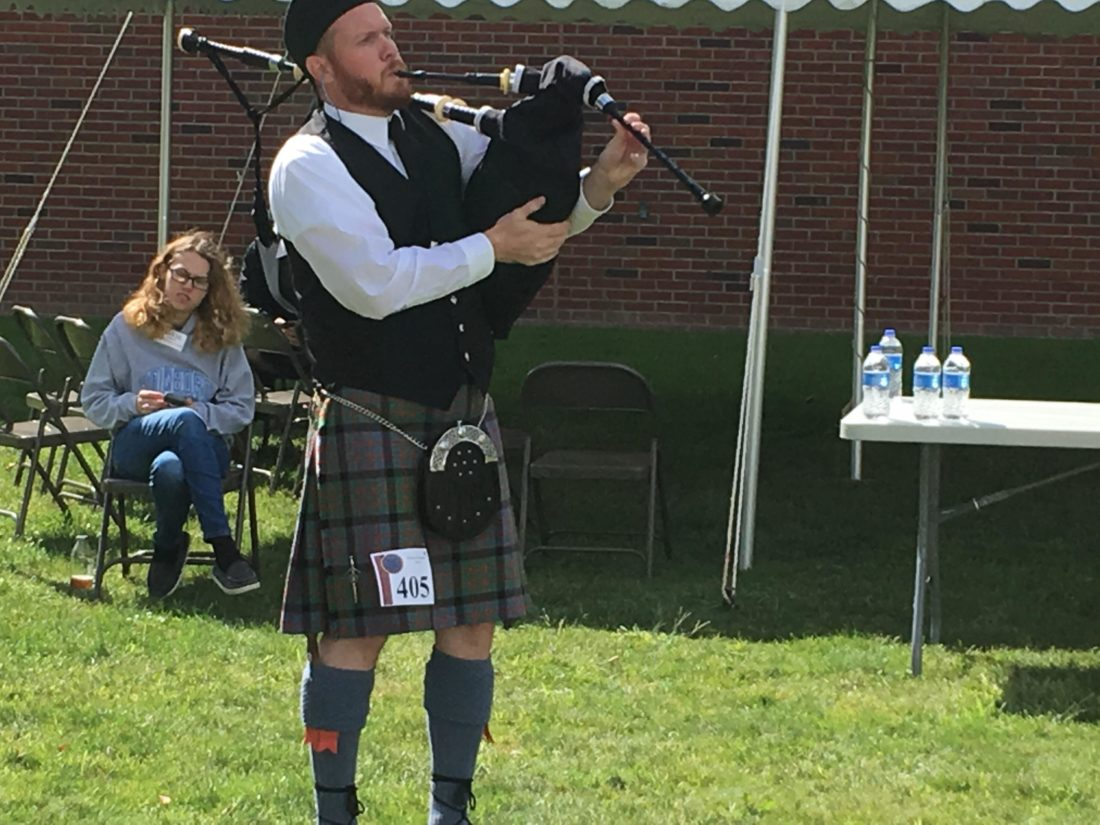 "Photo Provided The Rev. David Van Buskirk, pastor of First Christian Church in Chester, prepares to perform on the Highland pipes during the Edinboro Highland Games in Edinboro, Pa., in September. He is a member of the Macdonald Pipe Band of Pittsburgh and will recite Robert Burns' famous blessing, ""Selkirk Grace,"" at the band's Robert Burns Supper on Jan. 27 in Pittsburgh."