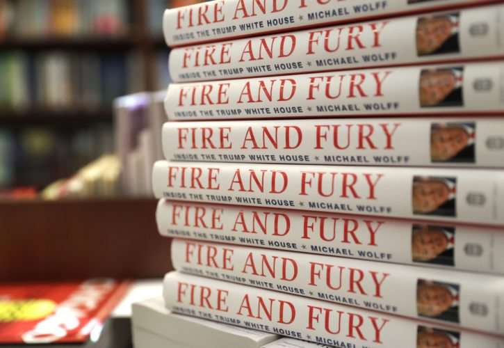 """Copies of the book """"Fire and Fury: Inside the Trump White House"""" by Michael Wolff are displayed at Barbara's Books Store, Friday, Jan. 5, 2018, in Chicago. (AP Photo/Charles Rex Arbogast)"""