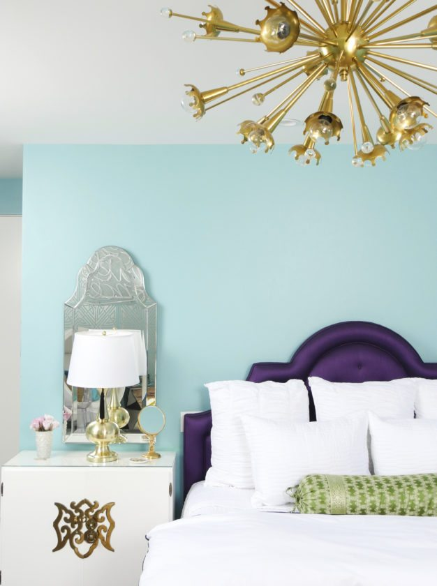 Pantone's Color of 2018, Ultra Violet, can bring a touch of luxury to home decorating, especially when used sparingly in rich upholstery fabrics as seen in this bedroom designed by Jessica McClendon, founder of the Los Angeles-based design firm Glamour Nest. (Scott Rickels/Jessica McClendon/Glamour Nest via AP)