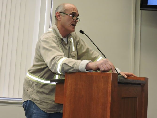 Photos by Casey Junkins Wheeling businessman and truck driver Sean O'Brien speaks during the Thursday Wheeling Traffic Commission meeting.