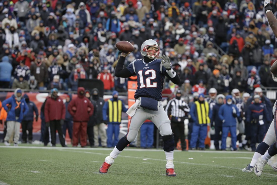 New England Patriots quarterback Tom Brady passes during the second half of an NFL football game against the New York Jets, Sunday, Dec. 31, 2017, in Foxborough, Mass. (AP Photo/Steven Senne)
