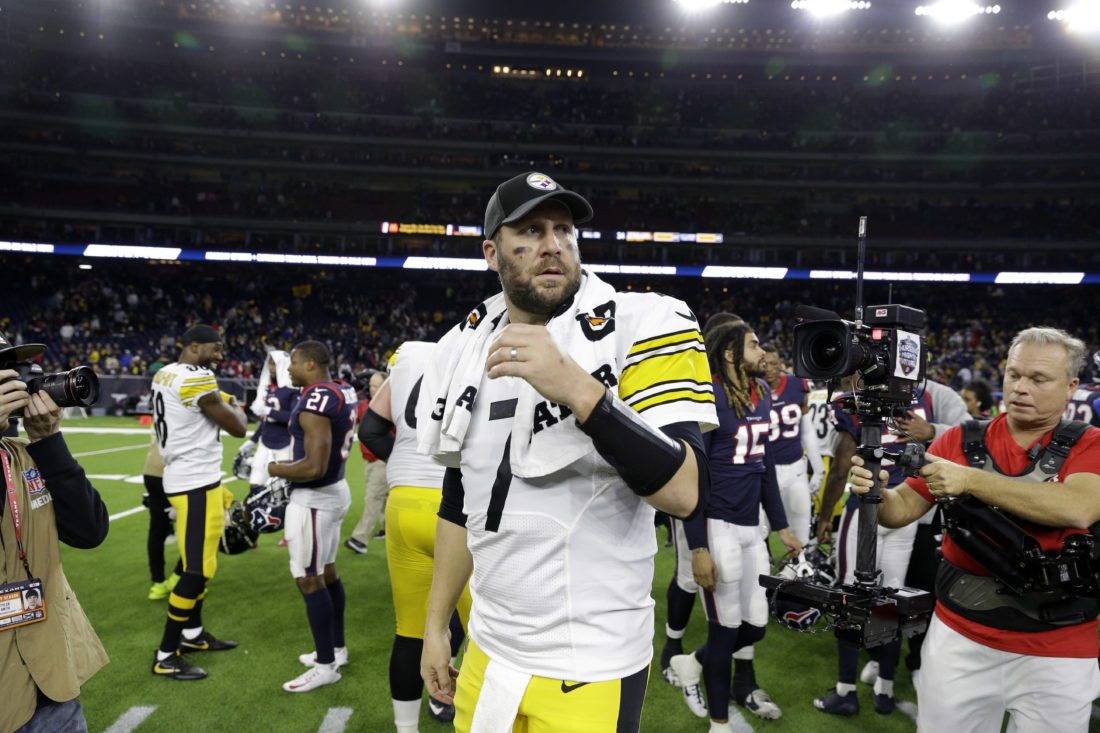 Pittsburgh Steelers quarterback Ben Roethlisberger (7) after an NFL football game against the Houston Texans Monday, Dec. 25, 2017, in Houston. The Steelers won 34-6. (AP Photo/Michael Wyke)