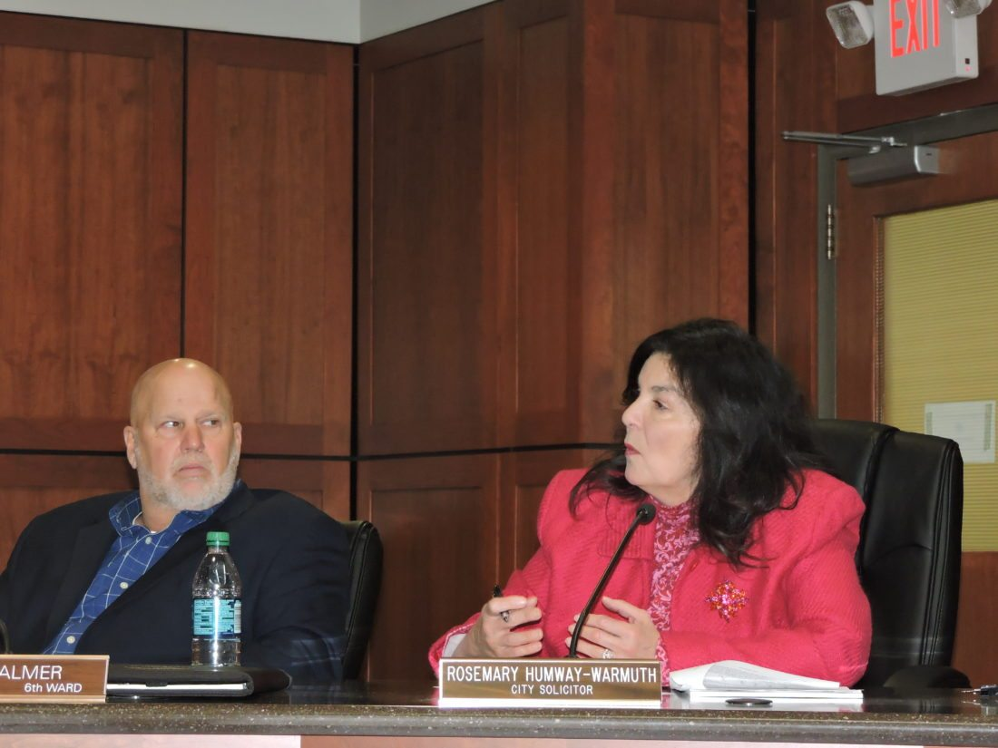 Photos by Casey Junkins Wheeling City Solicitor Rosemary Humway-Warmuth speaks during the Development Committee meeting Thursday, as Councilman Dave Palmer listens.