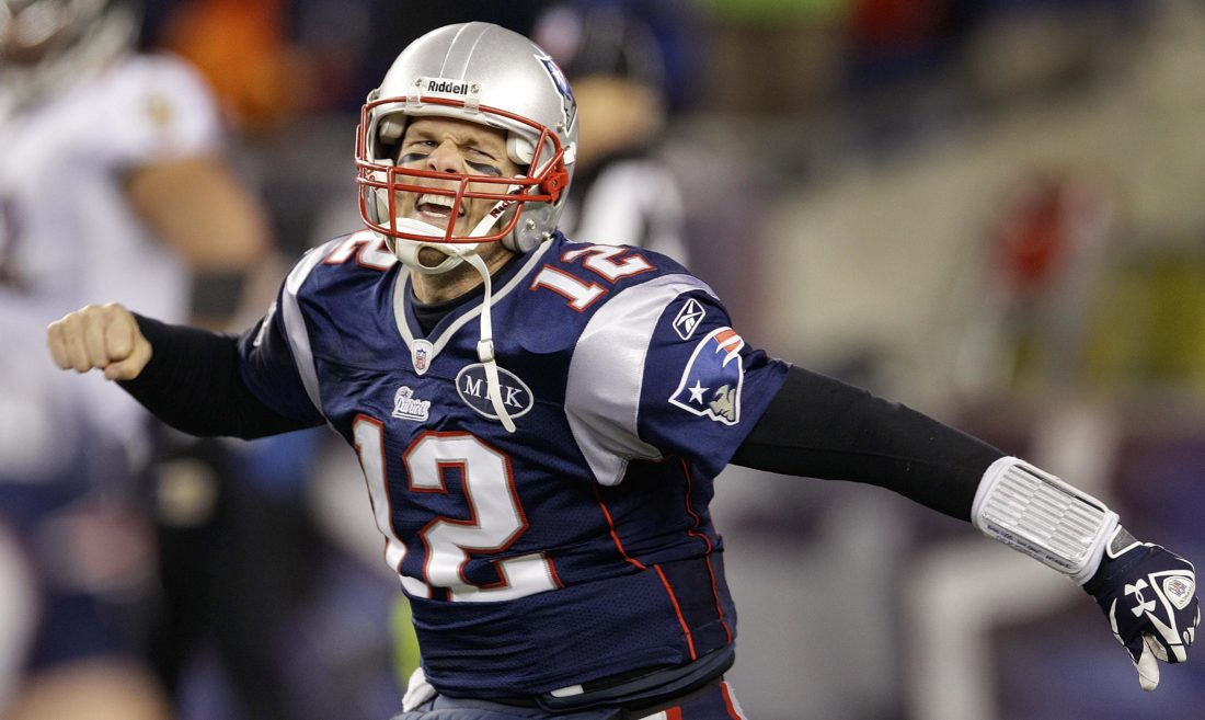FILE - In this Jan. 22, 2012, file photo, New England Patriots quarterback Tom Brady (12) celebrates after scoring a one yard touchdown during the second half of the AFC Championship NFL football game against the Baltimore Ravens, in Foxborough, Mass. Two things have been consistent for Patriots over the past decade: Tom Brady and reaching the AFC championship game. The Patriots' 40-year-old quarterback will try to lead his team to a place in its seventh straight conference title game when it hosts the Titans. (AP Photo/Stephan Savoia, File)