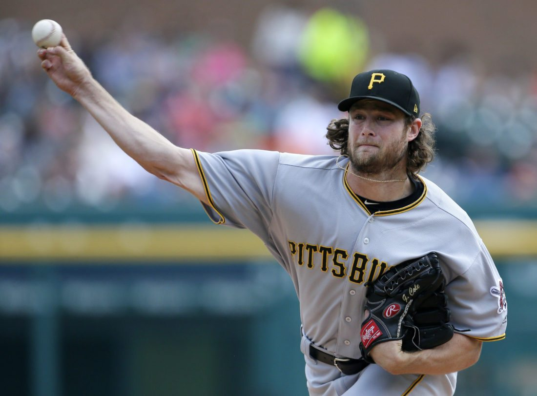 Pittsburgh Pirates starter Gerrit Cole pitches against the Detroit Tigers during the first inning of a baseball game in Detroit. The Houston Astros have boosted their rotation with another big arm acquiring Cole