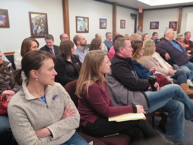 Photos by Joselyn King The public turns out for an information session Tuesday night hosted  by Ohio County Schools explaining a county-wide building upgrade projects and an upcoming school bond issue.