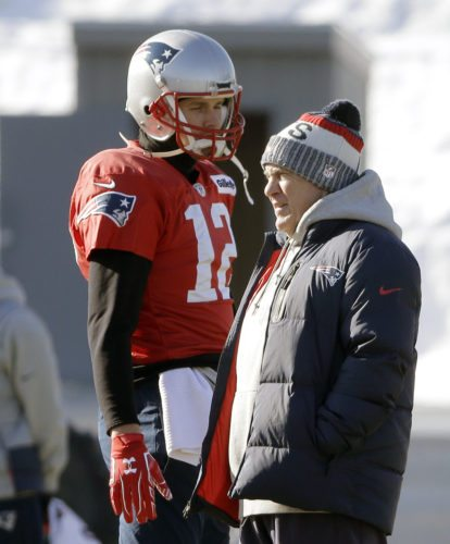 New England Patriots quarterback Tom Brady, left, stands with head coach Bill Belichick, right, during an NFL football practice, Thursday, Jan. 18, 2018, in Foxborough, Mass. The Patriots are to host the Jacksonville Jaguars in the AFC championship Sunday, in Foxborough.(AP Photo/Steven Senne)